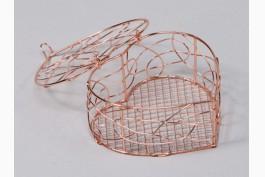 Hjärtformad korg med lock, koppar