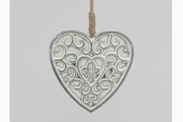 Hängdekoration hjärta i trä 13,5 cm