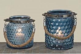 Ljuslykta blått glas (vänster)