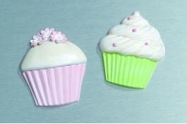 Kylskåpsmagnet cupcake, 2 st/set