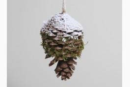 Hängdekoration stor kotte snö och mossa, 15 cm