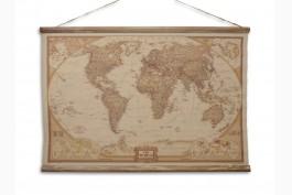 Tavla världskarta 90x63 cm