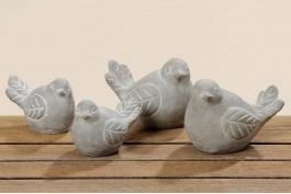 Fågel i betong, 2 st/set (7 cm)