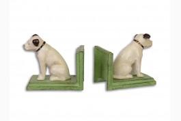 Bokstöd vit hund gjutjärn, 1 par