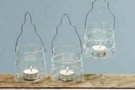 Ljuslyktor i klarglas, 3 st/set
