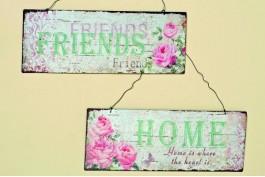 Plåttavlor friends+home, 2 st/set