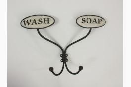 Vägghängare med 2 krokar, wash/soap
