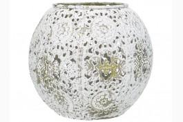 Ljuslykta vit/guld metall, d 12 cm