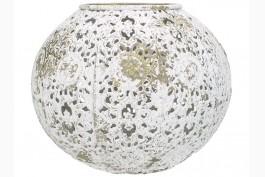 Ljuslykta vit/guld metall, d 14,5 cm