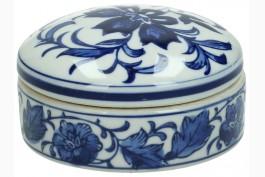 Dosa med lock, blå-vitt porslin