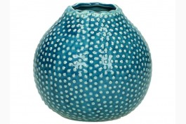 Vas i blå keramik, prickig