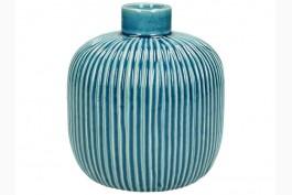 Vas i blå keramik, randig