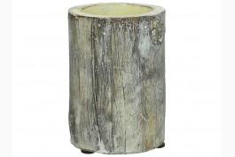 Ljuslykta i betong trädstam 12 cm