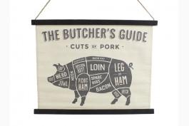 Tavla The butcher's guide pork 65x50 cm