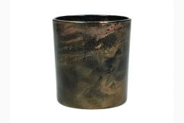 Ljuslykta svart/guld 8 cm