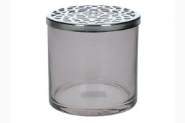 Gallervas rökfärgad/silver Ø 10,5 cm H 10 cm
