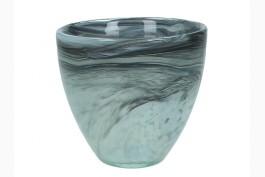 Ljuslykta återvunnet glas svart 9 cm